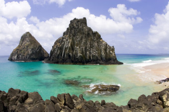 view of two brothers islands beach in fernando de noronha