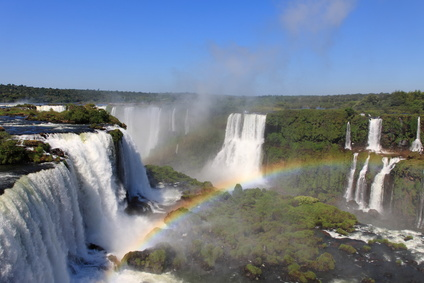 Iguazu waterfalls with rainbow