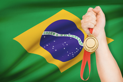 Medal in hand with flag - Federative Republic of Brazil