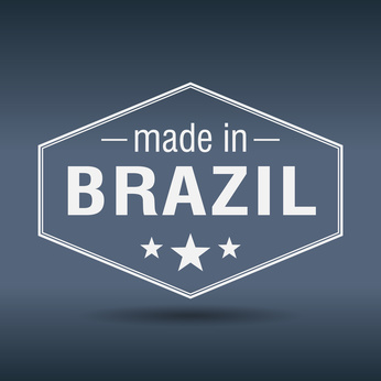 made in Brazil hexagonal white vintage label