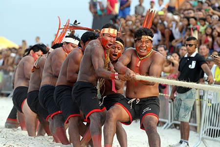 Esportes tradicionais tomaram conta da arena, com a disputa de cabo de guerra, rônkran e corrida de 100 metros. FOTO: SIDNEY OLIVEIRA/AG. PARÁ DATA: 07.09.2014 MARUDÁ - PARÁ